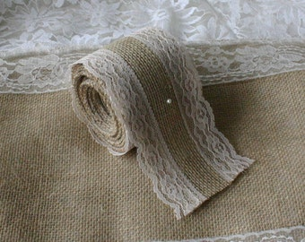 Burlap and lace ribbon, SALE, burlap ribbon