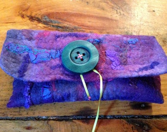 One of a kind Felted foldover Clutch with Oversized Button