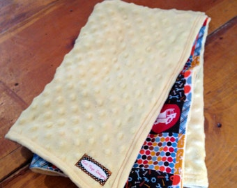 Baby Boy Construction blanket -  Yello fuzzy dot minky fabric & Cotton print