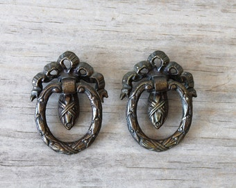 Vintage ornate drawer pulls / Victorian style / architectural salvage hardware / cottage chic / metal with patina / country cottage style