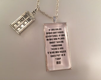 Exclusive Doctor Who TARDIS Charmed Interpreted Quote Necklace, TARDIS Jewelry, TARDIS Pendant
