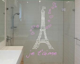 Wall Decal Vinyl Sticker Decals Bathroom shower Eiffel tower Art