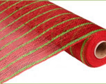 21 Inches x 10yd Deluxe Red Metallic Deco Mesh with Laser Lime Green Stripe - RE1033F6