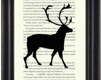 Harry Potter Book Print Patronus Print Upcycled Book Page Harry Potter Fandom Book Lovers Gift Literary Print Potter Wall Art