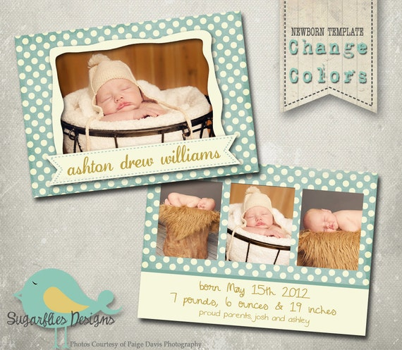 Baby Announcement PHOTOSHOP TEMPLATE - Baby Boy Pebbles