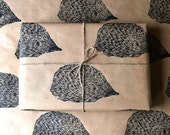 Woodland Hedgehog Hand Printed Wrapping Paper - Three Sheets 50 x 70cms