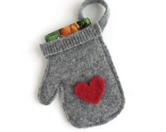Christmas Gift Card Holder / Ornament - Felted Wool Gray w/Red Heart Mitten - Valentine's Day Decor - Upcycled Christmas Tree Decoration
