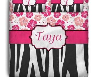 Flower Zebra  Custom Personalized Bedding
