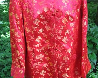 Brocade Jacket Red and Gold Flower Frog Closures Mandarin Collar Cream Silk Full Lining Vintage Made in British Crown Colony of Hong Kong