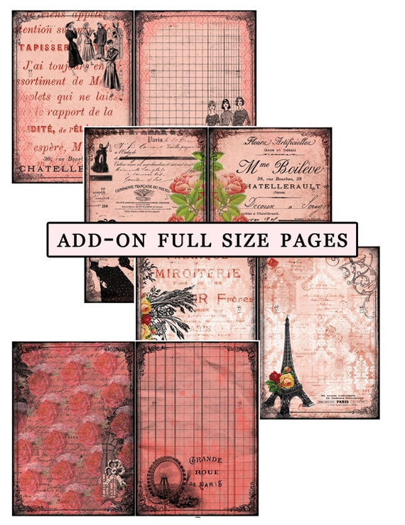 Printable Journal Kit - Parisian Daydream Add On Full Size Pages- 33 Page Instant Download - collage sheets, junk journal kit