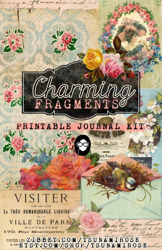 Printable Journal Kit -  Charming Fragments -  16 Page Instant Download -junk journal kit, digital download, journal pages