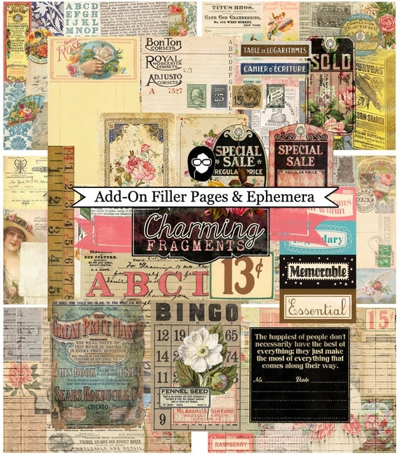 Add- On Charming Fragments- Filler Pages & Ephemera- INSTANT DOWNLOAD
