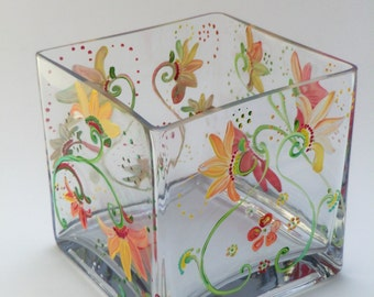 Floral Hand Painted Decorated Glass Vase Candle Holder Hostess Gift