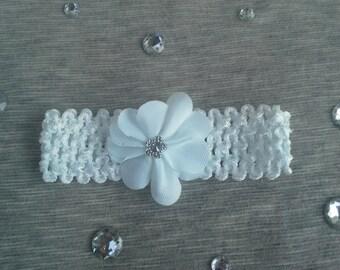 Newborn-Infant White Crochet Headband with Flower