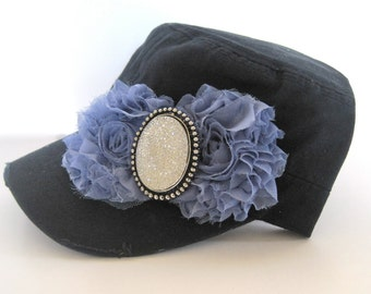 Navy  Cadet Military Distressed Army Hat  with LIght Blue Chiffon Flowers and a Gorgeous Brooch Accent