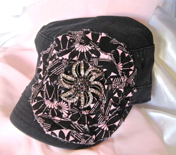Sale....Cadet Military Distressed Black hat with a Pink and Black Fabric Flower and Gorgeous Rhinestone Flower Embellishment
