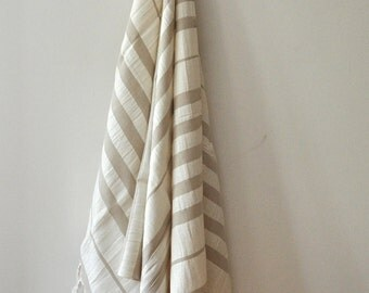 Linen Peshtemal Towel Turkish Towel for Bath and Beach Latte Ivory striped