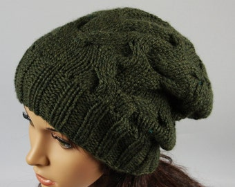 Hand knitted ladies slouchy beanie. A lovely hat for women available in many colours.