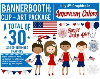 July 4th Clipart, July 4th Graphics, Fourth of July Web Graphics, Fourth of July Invitation Graphics, Cute Fourth of July Graphics