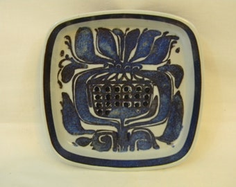 Vintage Royal Copenhagen Aluminia Faience Tenera Plate Dish Kari Christiansen Denmark Blue