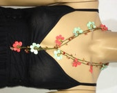 NEW Spring Pomegranate Flower and Aqua Green Crochet beaded flower lariat necklace with Agate Stones