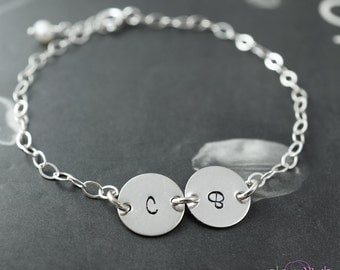 Friendship bracelet, Two letters, Custom initials, Best friend gift, Long distance, Two initial charms, Personalized bracelet