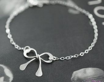 Bridesmaids bracelet, Sterling silver bow bracelet, Bridal party jewelry, Tie the knot, Silver bow