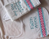 Personalized Baby Girl Embroidered Bib and Burp Cloth