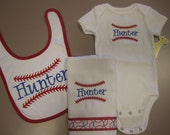 Personalized Baby Boy Embroidered Onesie, Bib and Burp Cloth