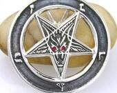 Baphomet Goat Pentagram Pendant in Solid 925 Sterling Silver & Imperial Red Garnet. LIMITED EDITION