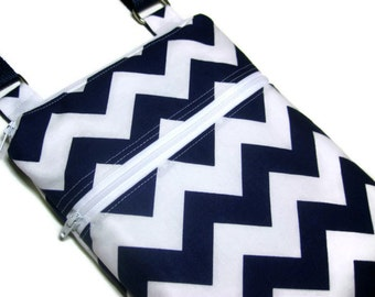 Navy blue chevron cross body shoulder sling adjustable strap travel vacation wallet purse small blue white