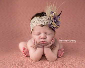 The Camille - Deluxe Purple and Beige Flower with Pearls Feathers and French Netting - Perfect Newborn Photo Prop