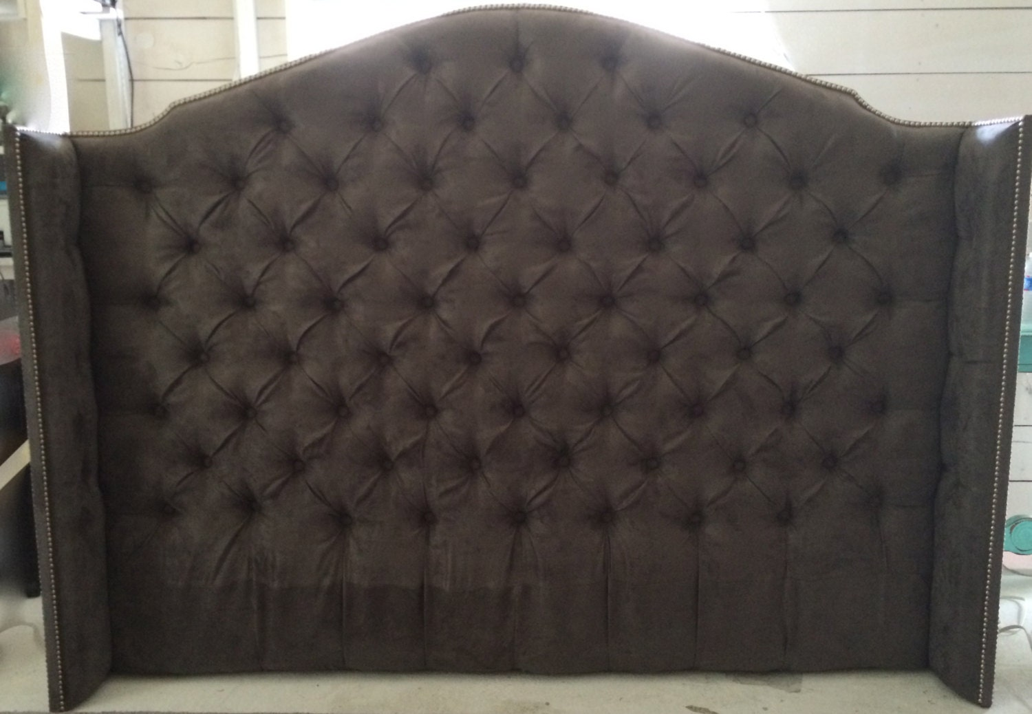 Diamond Tufted Grey Suede Wingback Headboard King Tall