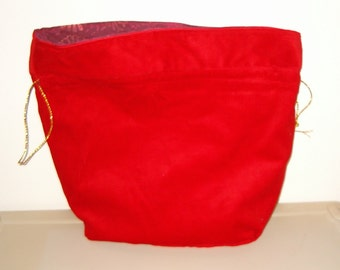 Red Corduroy Reusable Fabric Gift Bag/ Storage Bag