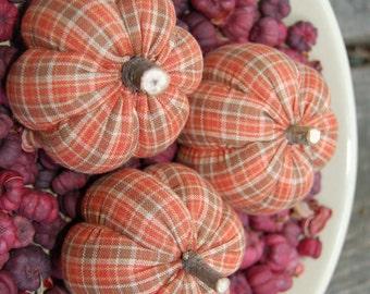 Primitive Fall Thanksgiving Homespun Pumpkins Ornies
