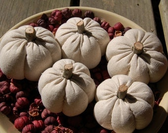 Primitive Fall White Pumpkin Ornies, Bowl Fillers