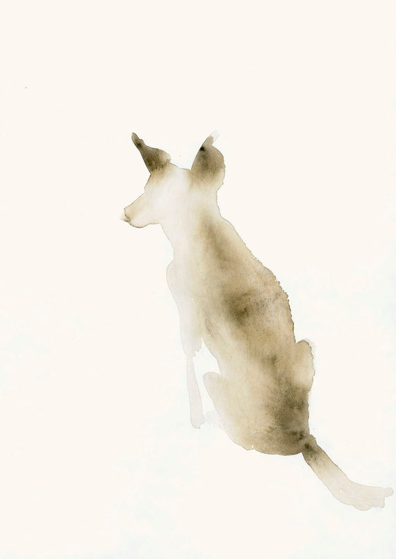 Animal Watercolor Artwork Snow Dog Fine Art Print from Original Watercolor
