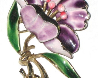 Vintage Weiss flower pin gold metal floral enamel brooch