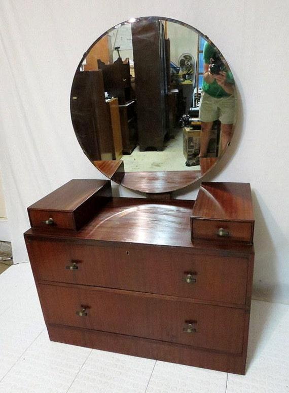 Vintage Antique Mahogany Dressing Table Vanity W Round Mirror