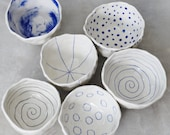 Porcelain Pinch Bowls - Set of 6 Ready to Ship
