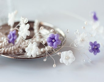 51_White crown, Lavender crown, Flower crown, Hair accessories, Bridal crown, Floral crown, Wedding hair piece, Headband, Silver crown