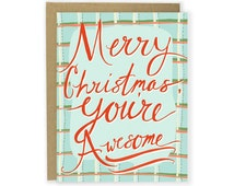 Christmas Card - Merry Christmas You're Awesome - Funny Happy Holiday Card, Plaid Card, Funny Christmas Cards, Happy Christmas Card