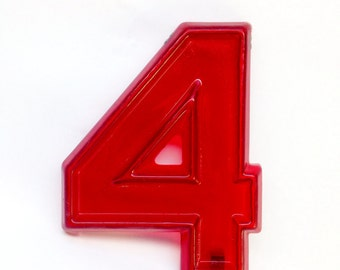 """Red Marquee Number 4 - Vintage Plastic Sign - 8"""" tall"""