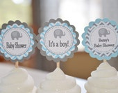 Elephant cupcake toppers, Elephant baby shower, elephant, set of 12 toppers
