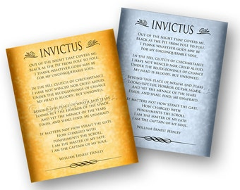 Invictus Poem by William Ernest Henley 8x10 Print - Gold or Blue Grey Colors - Design by Ginny Gaura