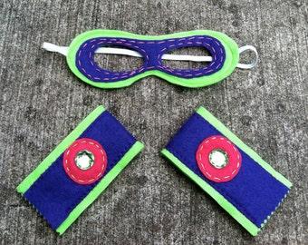 Girls Superhero Mask and Cuffs-Superhero Accessory-Customize-Christmas Gift- Superhero Dress Up Party