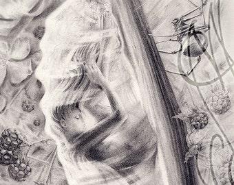 "Martinefa's original drawing presented in hand personalised frame - ""Chrysalide"""