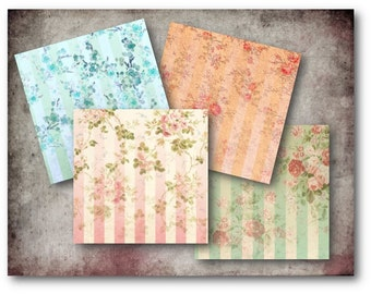 Digital Collage Sheet Download - Floral Stripe Cards -  734  - Digital Paper - Instant Download Printables