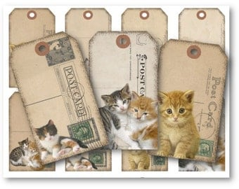 Digital Collage Sheet Download - Cats Postcard Tags -  512  - Digital Paper - Instant Download Printables