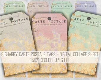 Digital Collage Sheet Download - Vintage Shabby Carte Postale Tags -  969  - Digital Paper - Instant Download Printables